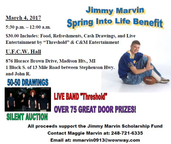 Jimmy Marvin Spring Into Life Benefit
