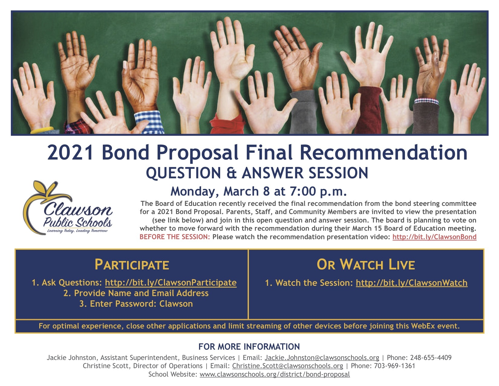 2021 Bond Proposal Final Recommendation Question & Answer Session. Monday, March 8 at 7:00 p.m.