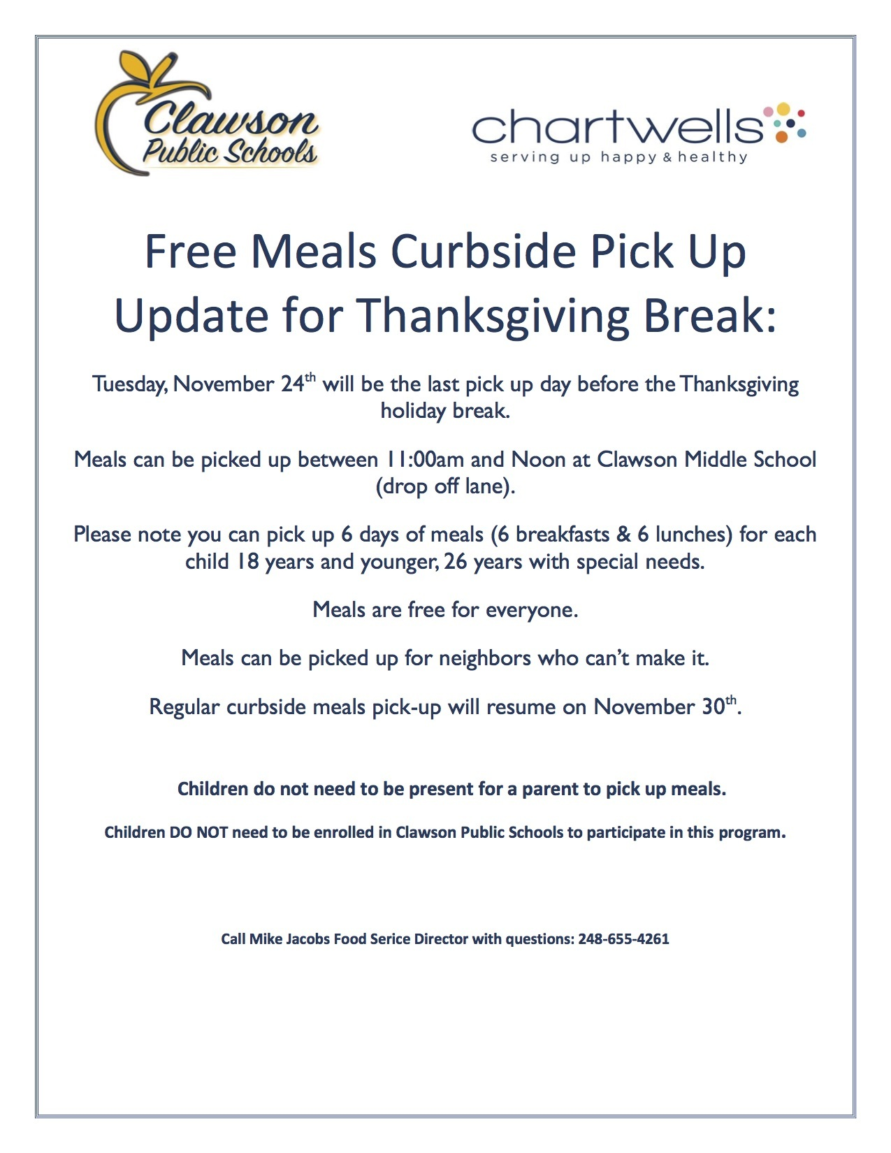 Free Meals Curbside Pick Up Update for Thanksgiving Break: Tuesday, November 24th 11:00am-noon.